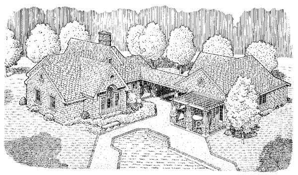 Country, Craftsman, One-Story House Plan 95506 with 2 Beds, 3 Baths, 2 Car Garage Rear Elevation
