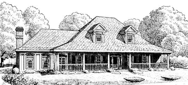 Country Farmhouse Southern House Plan 95512 Elevation