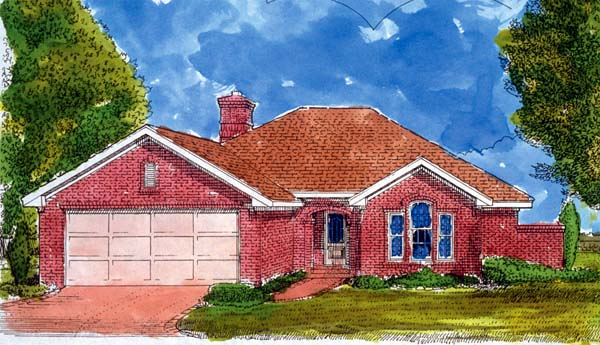 European, One-Story House Plan 95515 with 3 Beds, 2 Baths, 2 Car Garage Elevation
