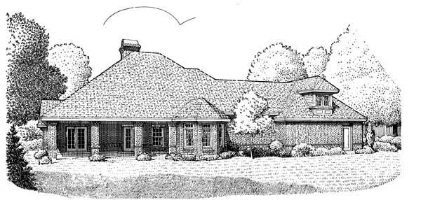 European House Plan 95516 Rear Elevation
