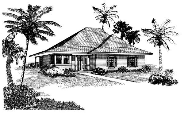 Cottage , One-Story , Elevation of Plan 95517