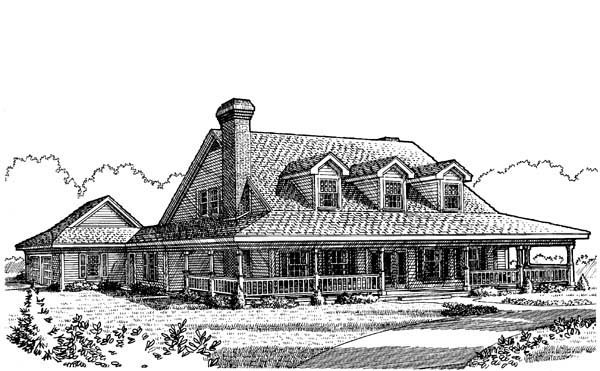 Country Farmhouse Southern House Plan 95519 Elevation
