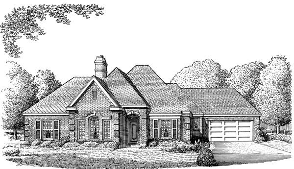 European One-Story Elevation of Plan 95520
