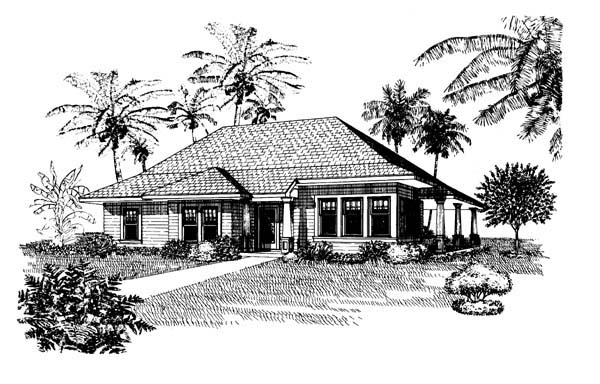 Country, One-Story, Southern House Plan 95521 with 3 Beds , 2 Baths Elevation