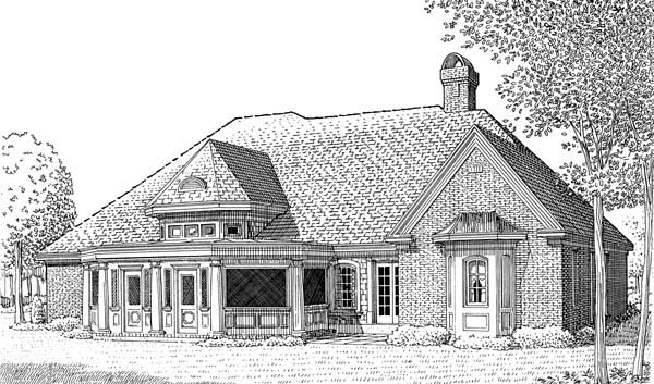 Craftsman European House Plan 95523 Rear Elevation