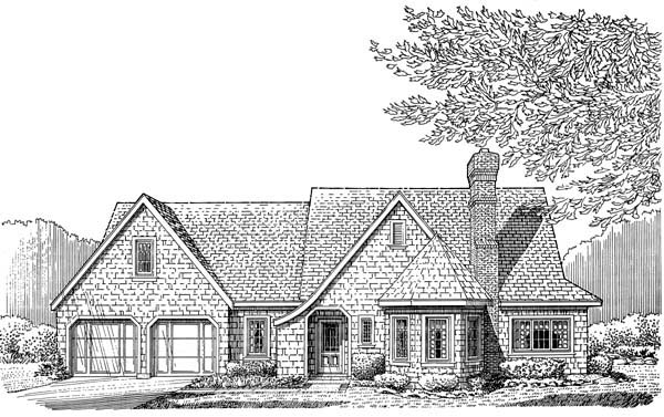 Cottage, Craftsman, One-Story House Plan 95526 with 3 Beds, 2 Baths, 2 Car Garage Elevation