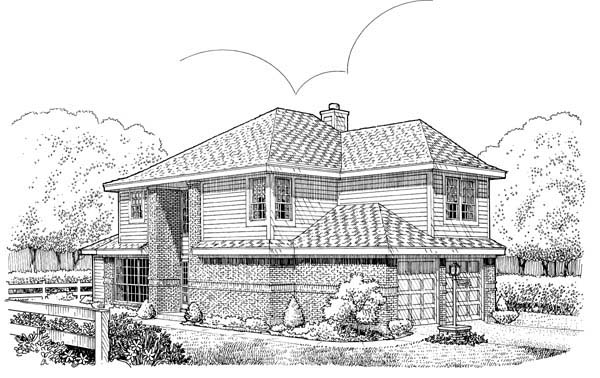 Narrow Lot House Plan 95527 with 3 Beds, 3 Baths, 2 Car Garage Elevation