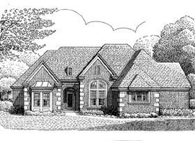 European House Plan 95529 with 3 Beds, 3 Baths, 2 Car Garage Elevation