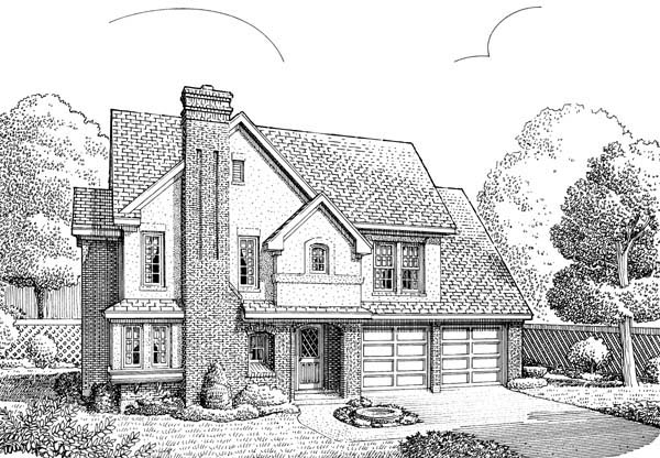 House Plan 95531 | European Style Plan with 2400 Sq Ft, 4 Bedrooms, 3 Bathrooms, 2 Car Garage Elevation
