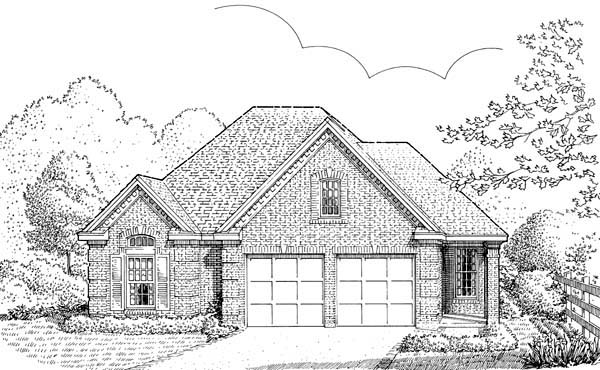 House Plan 95532 | European Style Plan with 1710 Sq Ft, 2 Bedrooms, 2 Bathrooms, 2 Car Garage Elevation