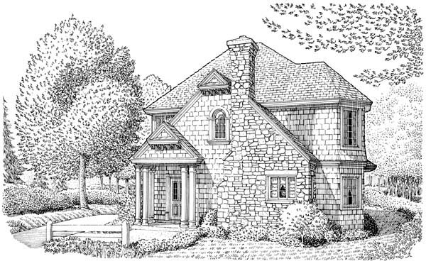 Country, Craftsman, European, Narrow Lot House Plan 95533 with 2 Beds, 2 Baths, 2 Car Garage Elevation