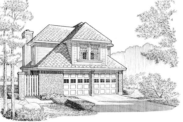 Narrow Lot House Plan 95537 with 3 Beds, 3 Baths, 2 Car Garage Elevation