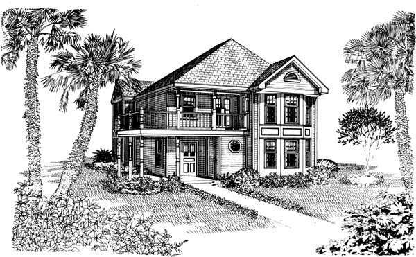 Cottage, Country, Narrow Lot House Plan 95538 with 3 Beds , 2 Baths Elevation