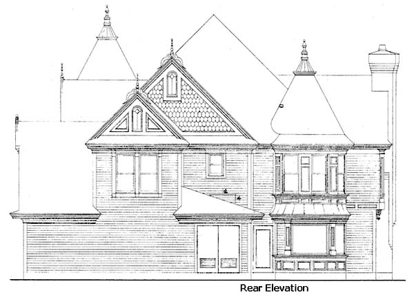 Country Farmhouse Victorian House Plan 95539 Rear Elevation