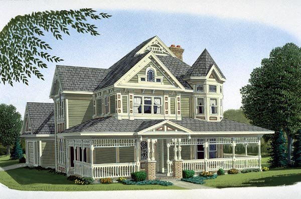 Country Farmhouse Victorian House Plan 95540 Elevation