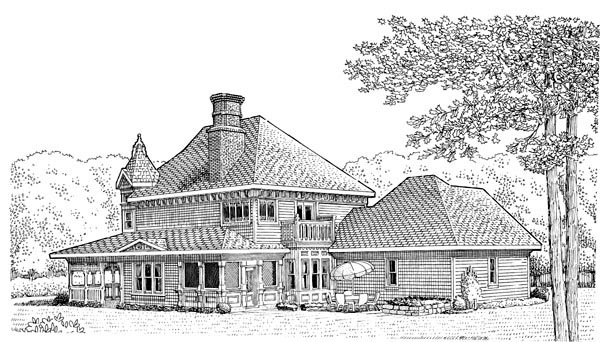 Country Farmhouse Victorian House Plan 95540 Rear Elevation