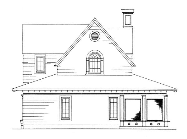 Cottage Country Craftsman Farmhouse Rear Elevation of Plan 95541