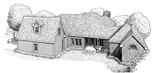 European House Plan 95542 Rear Elevation