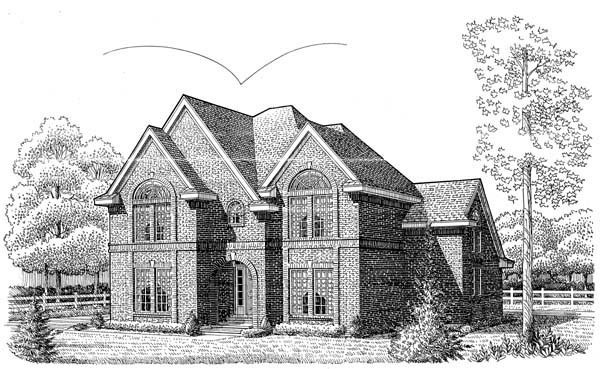 European House Plan 95543 Elevation