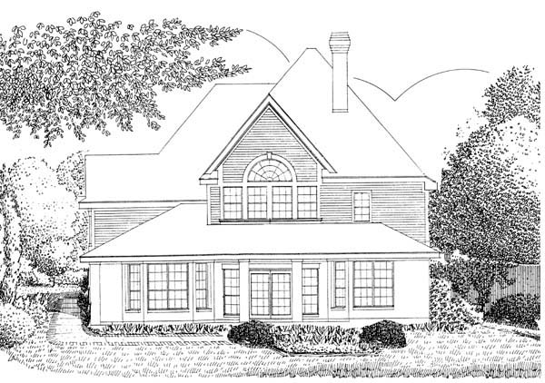European House Plan 95543 Rear Elevation
