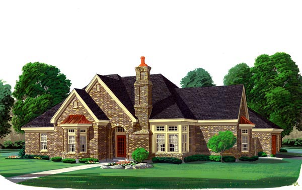 European House Plan 95544 Elevation