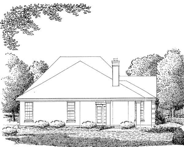 European House Plan 95549 Rear Elevation