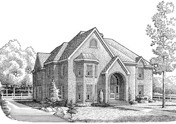 European House Plan 95550 with 5 Beds, 5 Baths, 2 Car Garage Elevation