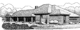 European House Plan 95555 with 3 Beds, 2 Baths, 2 Car Garage Elevation