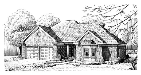 European House Plan 95556 Elevation
