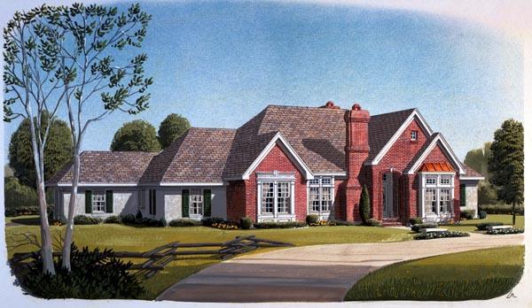 European House Plan 95558 Elevation