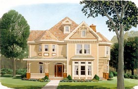 Country , Farmhouse , Victorian House Plan 95560 with 4 Beds, 4 Baths, 2 Car Garage Elevation