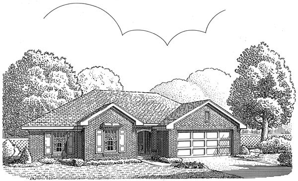 European, One-Story House Plan 95562 with 3 Beds, 2 Baths, 2 Car Garage Elevation