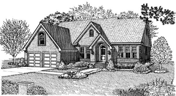 House Plan 95563 with 2 Beds, 2 Baths, 2 Car Garage Elevation