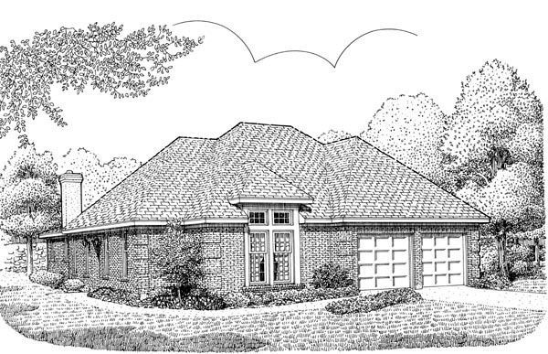 European, One-Story House Plan 95564 with 2 Beds, 2 Baths, 2 Car Garage Elevation