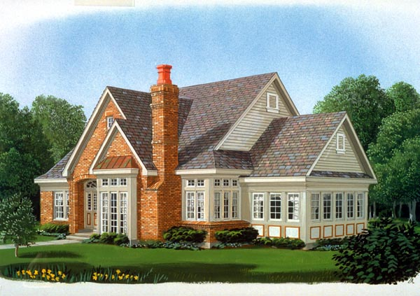 European House Plan 95566 with 3 Beds, 3 Baths, 2 Car Garage Elevation