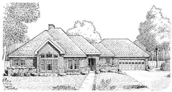 European, One-Story House Plan 95567 with 3 Beds, 2 Baths, 2 Car Garage Elevation