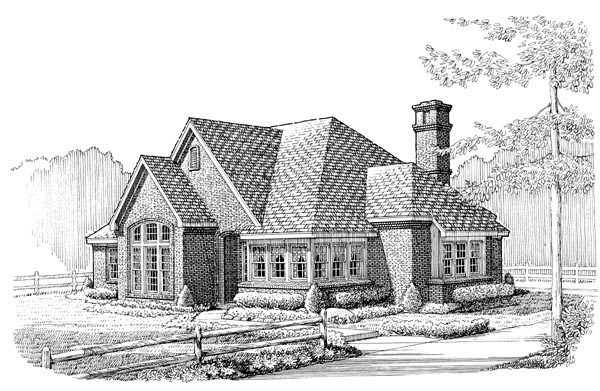 European , One-Story , Elevation of Plan 95568