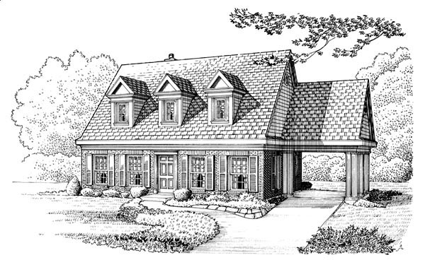 Cape Cod, Colonial House Plan 95572 with 3 Beds, 3 Baths, 1 Car Garage Elevation