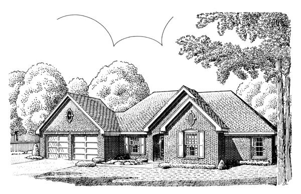 European , One-Story , Elevation of Plan 95574