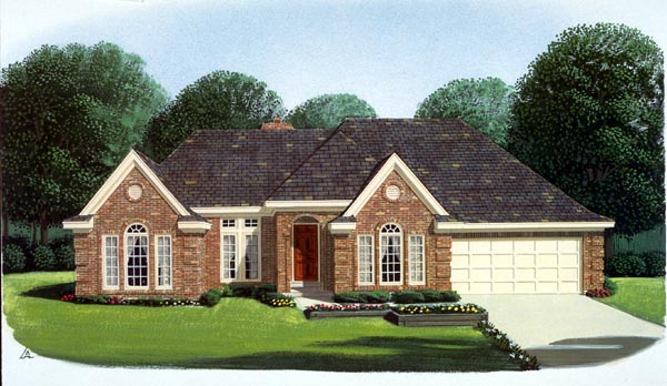 European, One-Story House Plan 95575 with 3 Beds, 2 Baths, 2 Car Garage Elevation