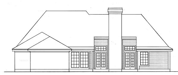 European, One-Story House Plan 95575 with 3 Beds, 2 Baths, 2 Car Garage Rear Elevation