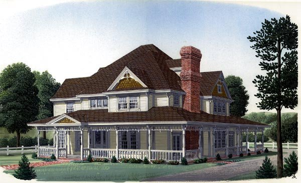 Country Farmhouse Victorian House Plan 95576 Elevation