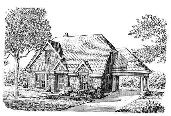 European House Plan 95577 with 3 Beds, 3 Baths, 1 Car Garage Elevation