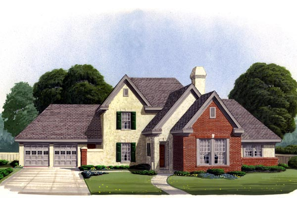 European House Plan 95578 with 3 Beds, 3 Baths, 2 Car Garage Front Elevation