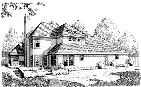 European House Plan 95578 with 3 Beds, 3 Baths, 2 Car Garage Rear Elevation