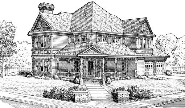 Country, Farmhouse, Victorian House Plan 95581 with 3 Beds, 3 Baths, 2 Car Garage Elevation