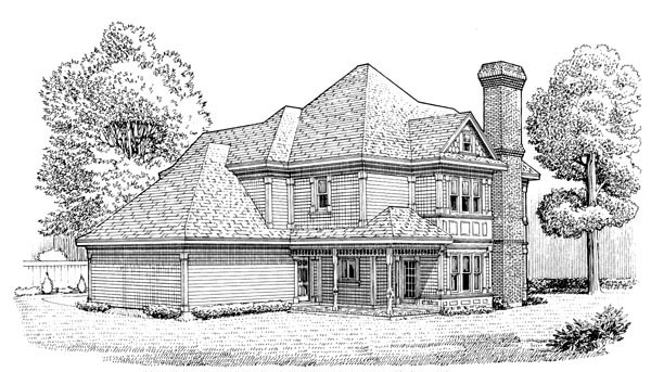 Country, Farmhouse, Victorian House Plan 95581 with 3 Beds, 3 Baths, 2 Car Garage Rear Elevation