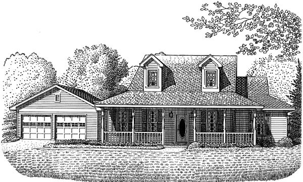 Country Farmhouse Southern House Plan 95583 Elevation