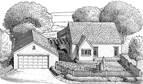 Cottage European House Plan 95584 Rear Elevation