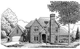 European House Plan 95586 with 4 Beds, 3 Baths, 2 Car Garage Elevation